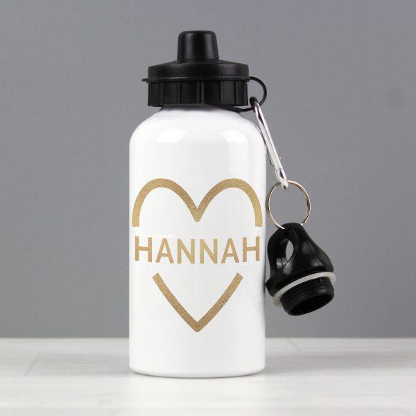 Personalised Gold Heart Drinks Bottle