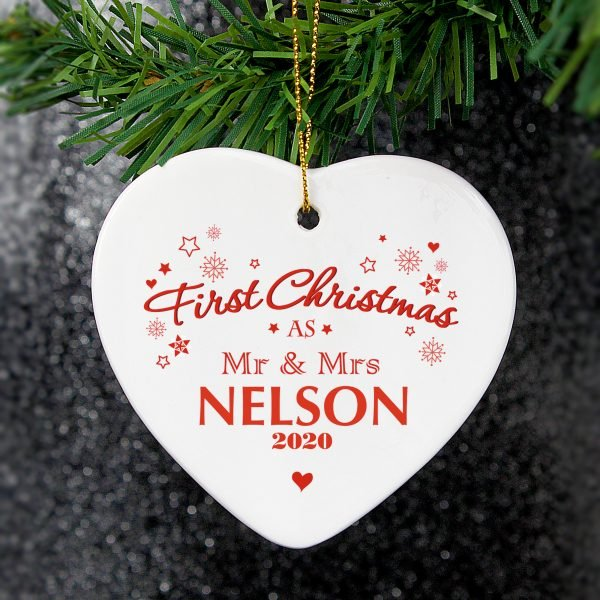 Our First Christmas' Ceramic Heart Decoration