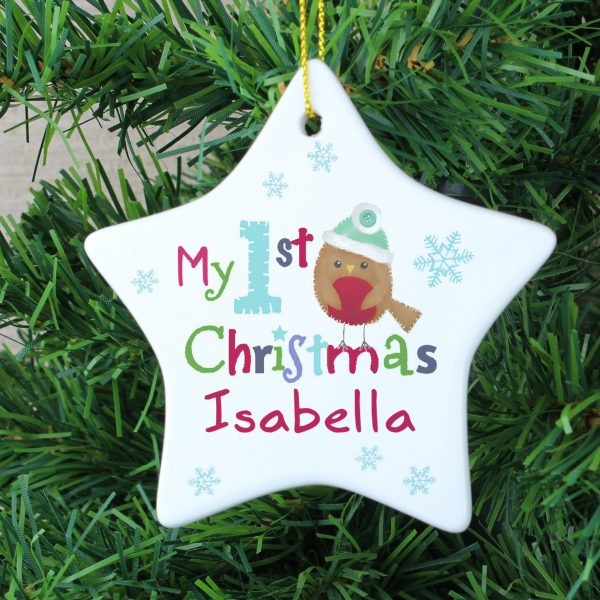 Felt Stitch Robin 'My 1st Christmas' Ceramic Star Decoration