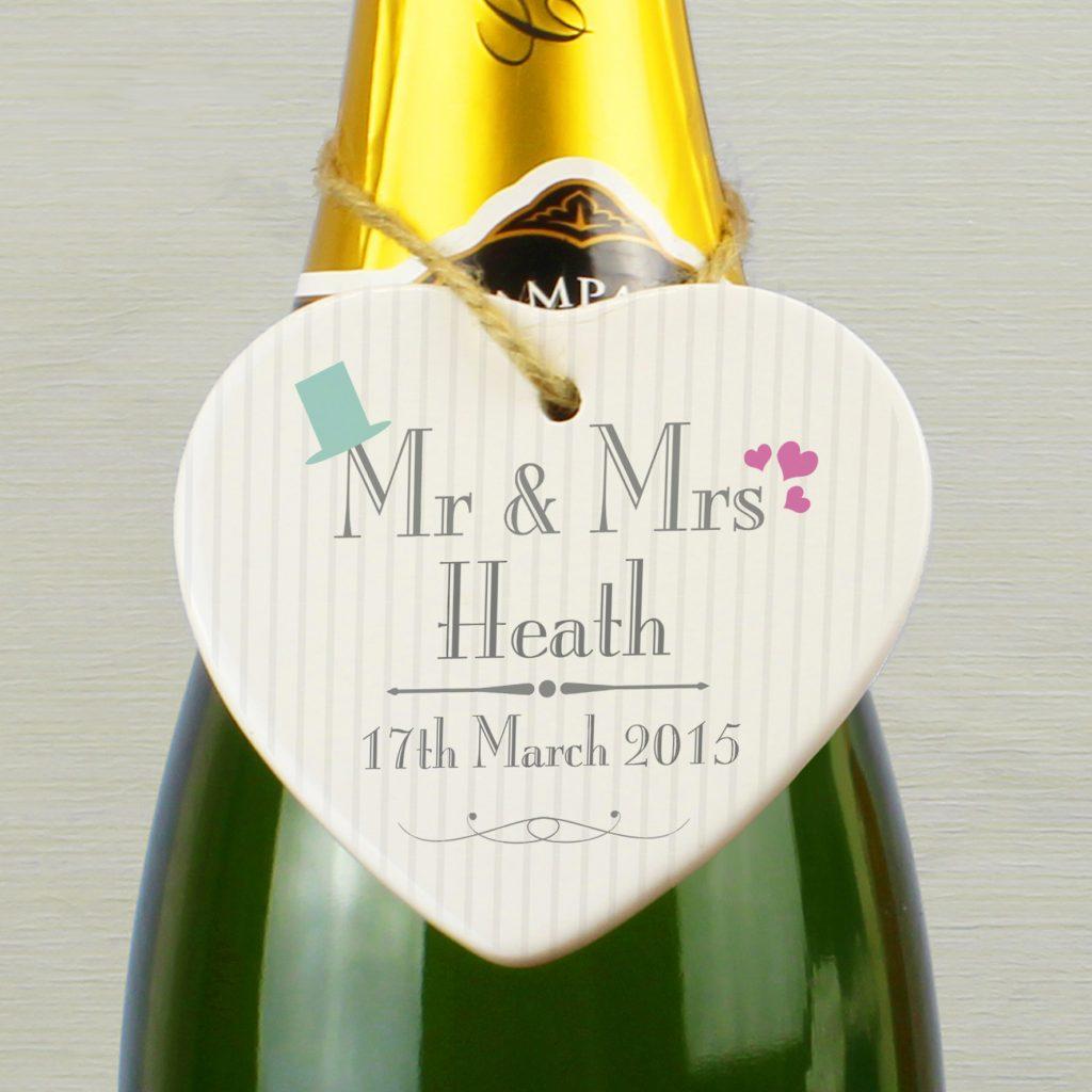Decorative Wedding Mr & Mrs Ceramic Heart