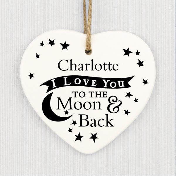 To the Moon and Back... Ceramic Heart Decoration