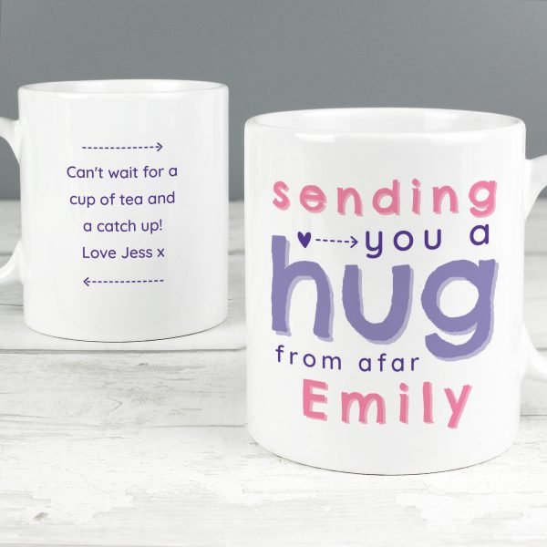 Personalised Pink Hug From Afar Mug