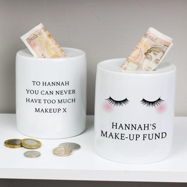 Personalised Eyelashes Ceramic Money Box