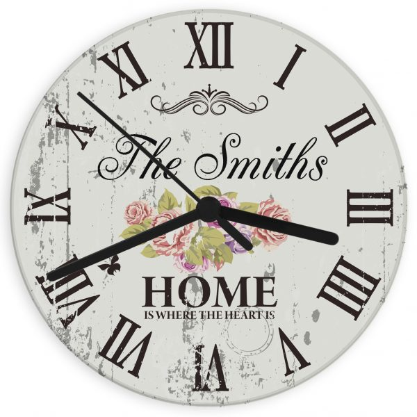 Shabby Chic Floral Glass Clock