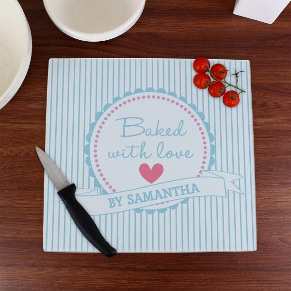 Baked With Love Glass Chopping Board