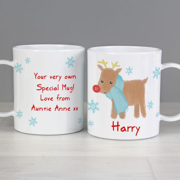 Felt Stitch Reindeer Plastic Mug