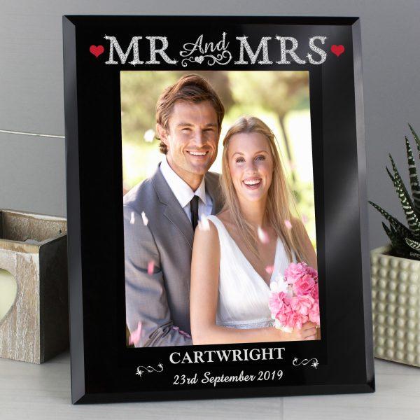 Bling Mr & Mrs Black Glass 5x7 Photo Frame