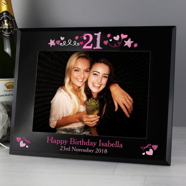 21st Birthday Black Glass 5x7 Photo Frame