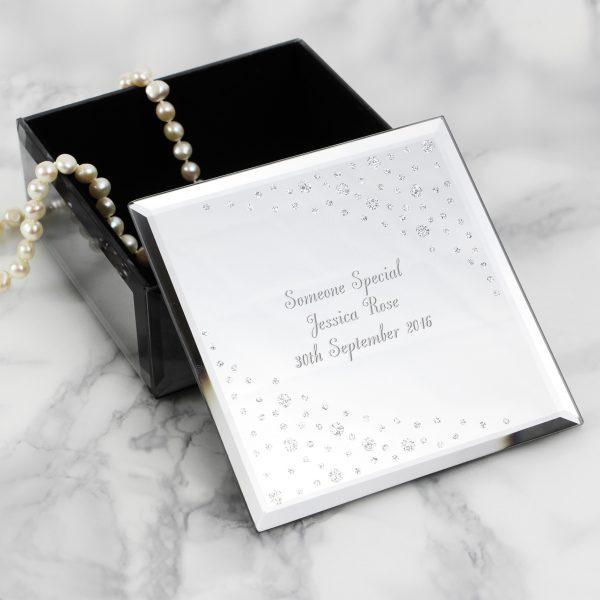 Any Message Diamante Glass Trinket Box
