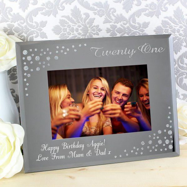 Twenty One Diamante 6x4 Glass Photo Frame