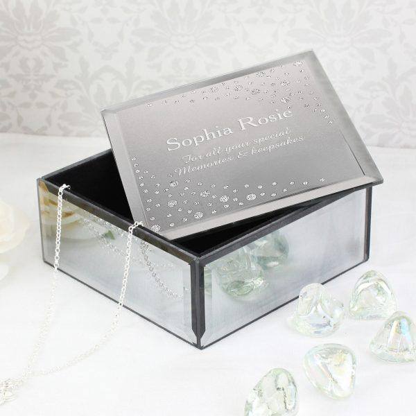 Diamante Name & Message Glass Trinket Box