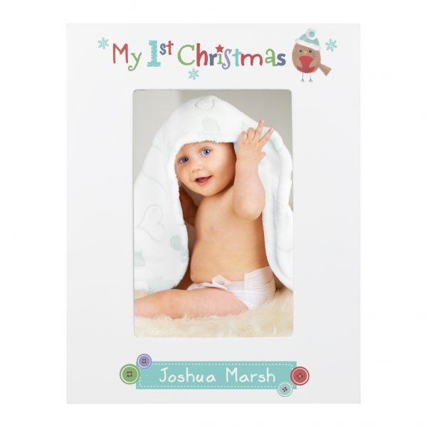 Felt Stitch Robin My 1st Christmas 6x4 White Wooden Photo Frame