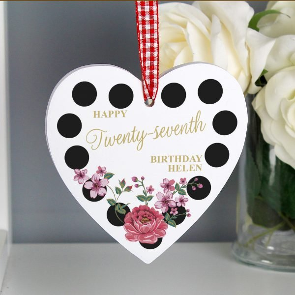 Floral Dot Wooden Heart Decoration