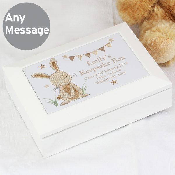 Hessian Rabbit Wooden Jewellery Box