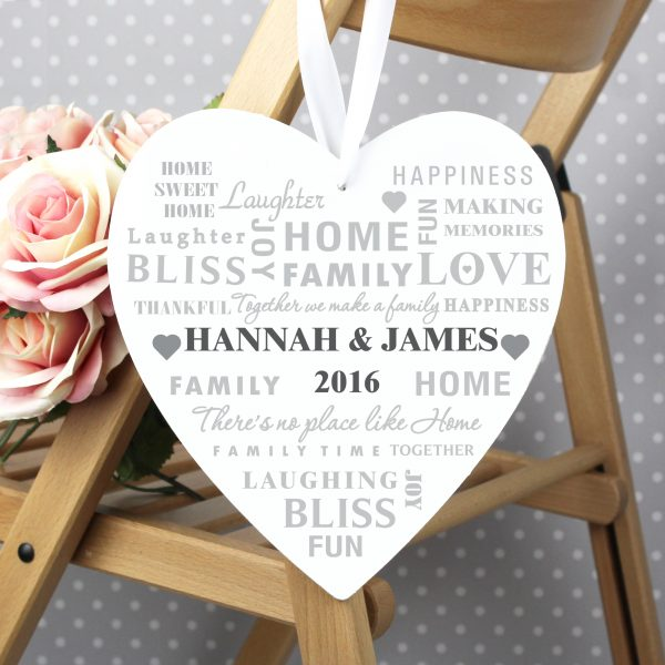 Family Typography Large Wooden Heart Decoration