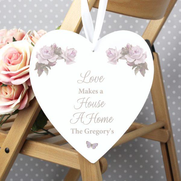 Vintage Floral Large Wooden Heart Decoration