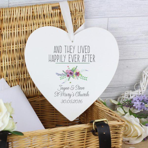 Floral Bouquet Large Wooden Heart Decoration