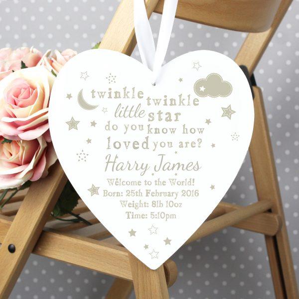 Twinkle Twinkle Large Wooden Heart Decoration