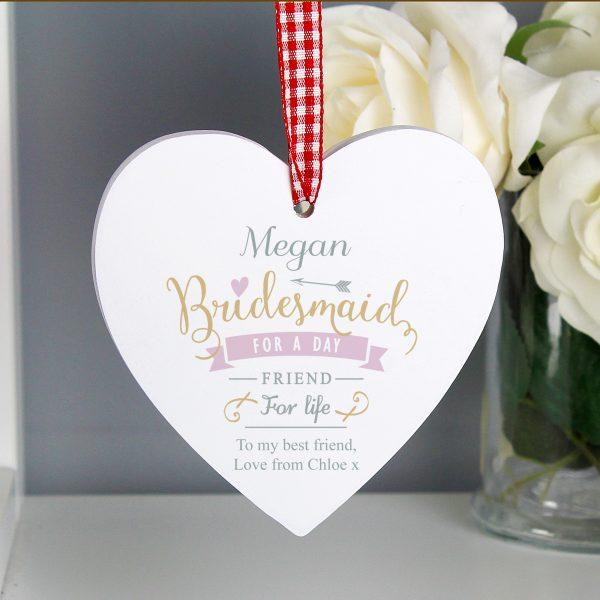 I Am Glad... Bridesmaid Wooden Heart Decoration