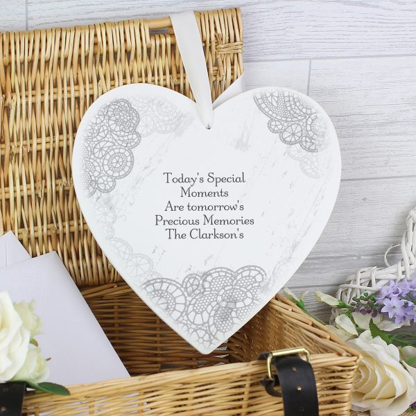 Dainty Lace Large Wooden Heart Decoration