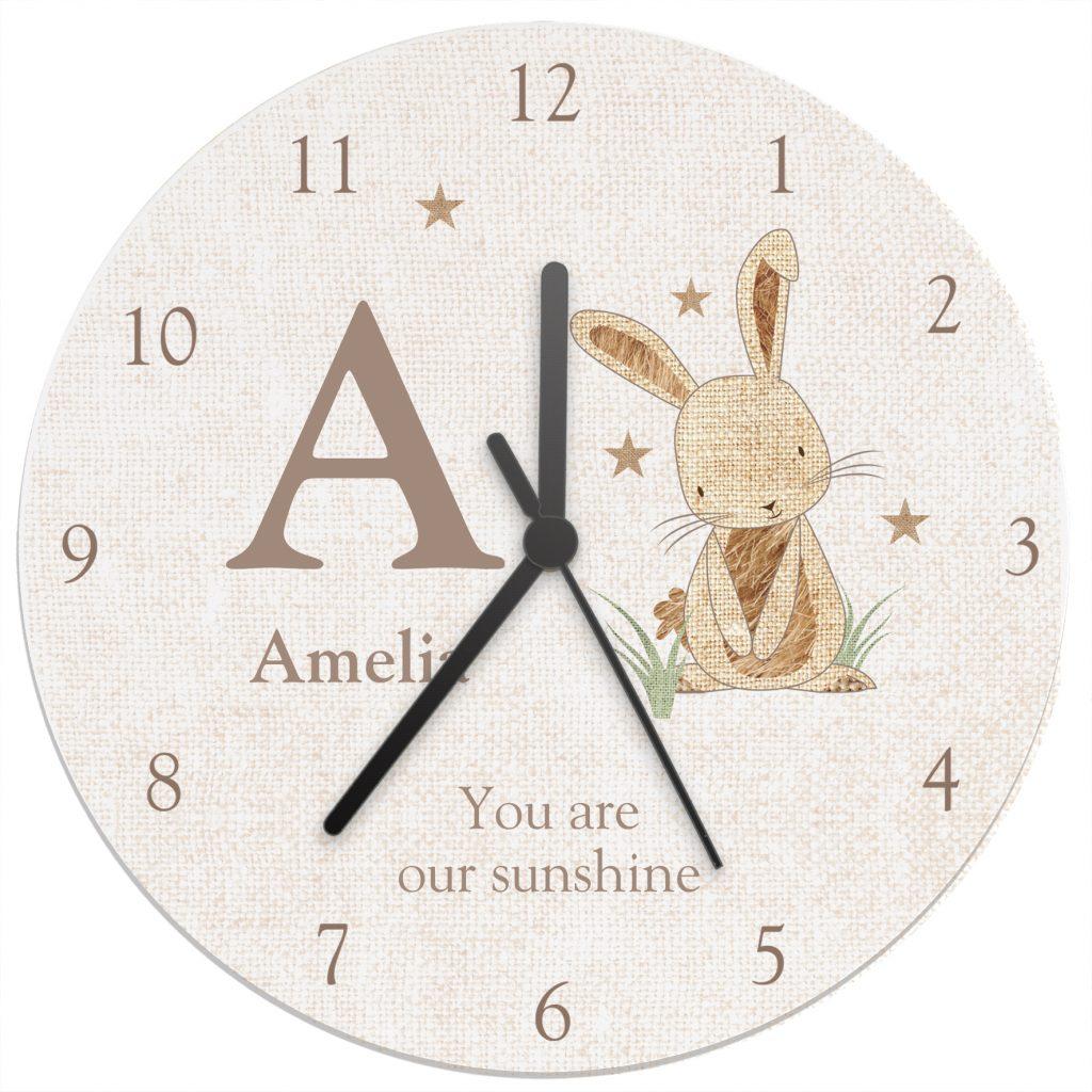 Hessian Rabbit Shabby Chic Large Wooden Clock
