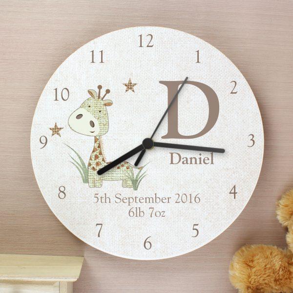 Hessian Giraffe Shabby Chic Large Wooden Clock