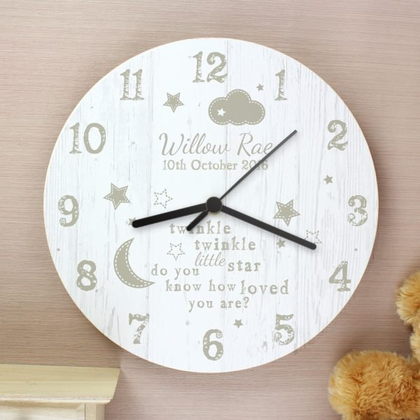 Twinkle Twinkle Shabby Chic Large Wooden Clock