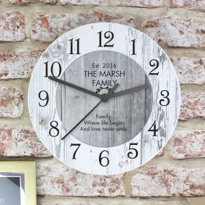 Any Message Shabby Chic Large Wooden Clock