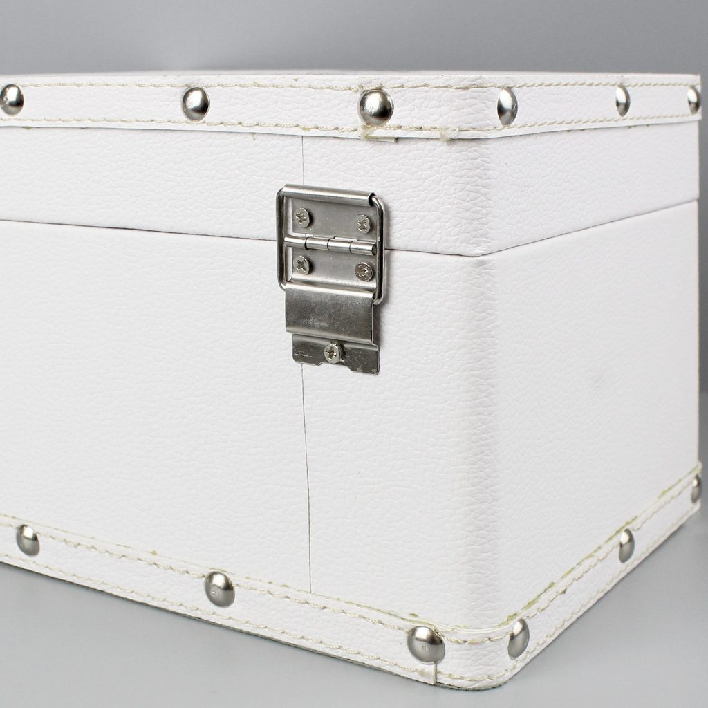 Soft Watercolour White Leatherette Keepsake Box