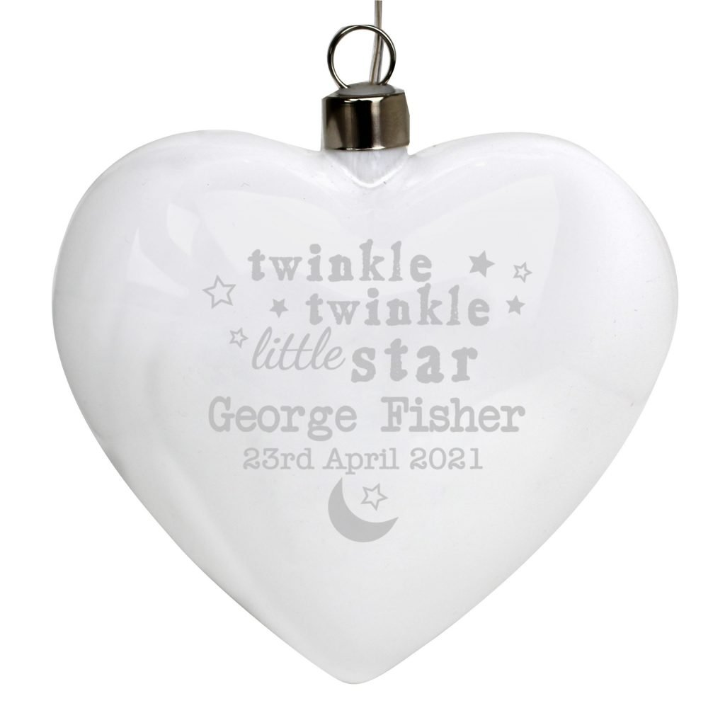 Personalised Twinkle Twinkle LED Hanging Glass Heart