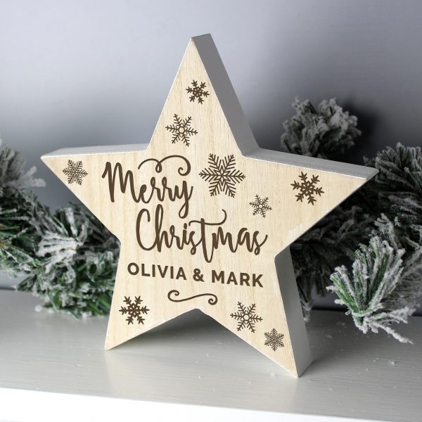 Personalised Merry Christmas Rustic Wooden Star Decoration