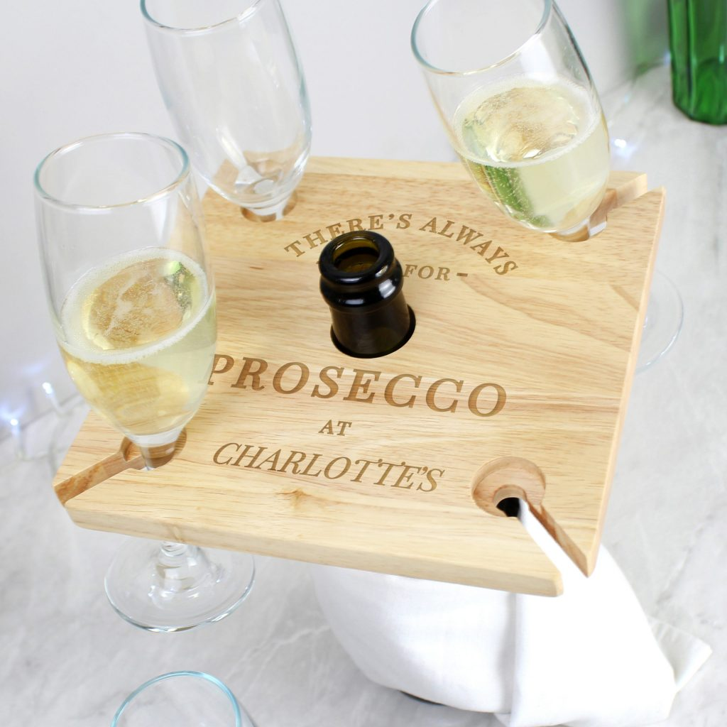 Personalised Prosecco Four Prosecco flute Holder & Bottle Butler