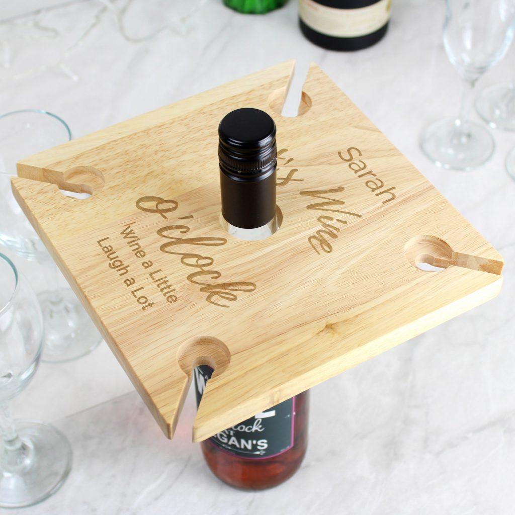 Personalised Wine O'clock Four Wine Glass Holder & Bottle Butler
