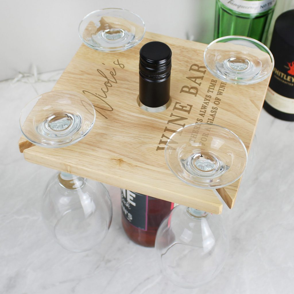 Personalised Free Text Four Wine Glass Holder & Bottle Butler