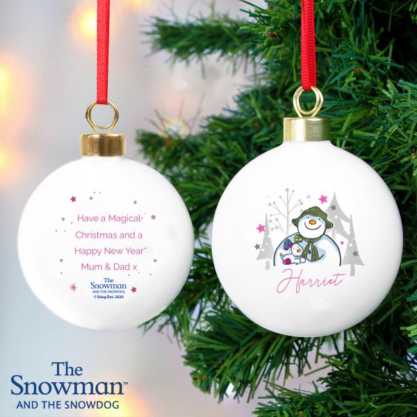 Personalised The Snowman and the Snowdog Pink Bauble