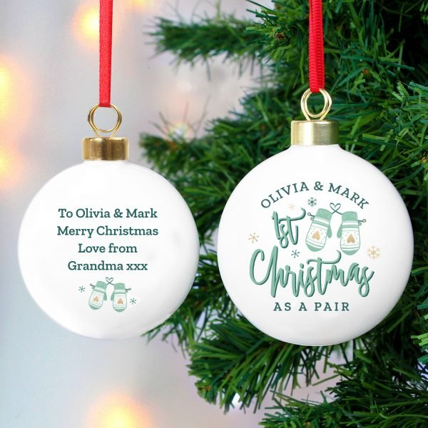 Personalised Couples Christmas Mittens Bauble
