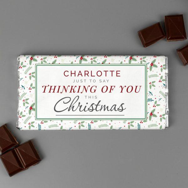Personalised Thinking of You Christmas Milk Chocolate Bar