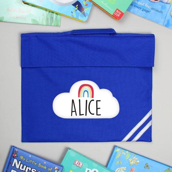 Personalised Rainbow Blue Book Bag