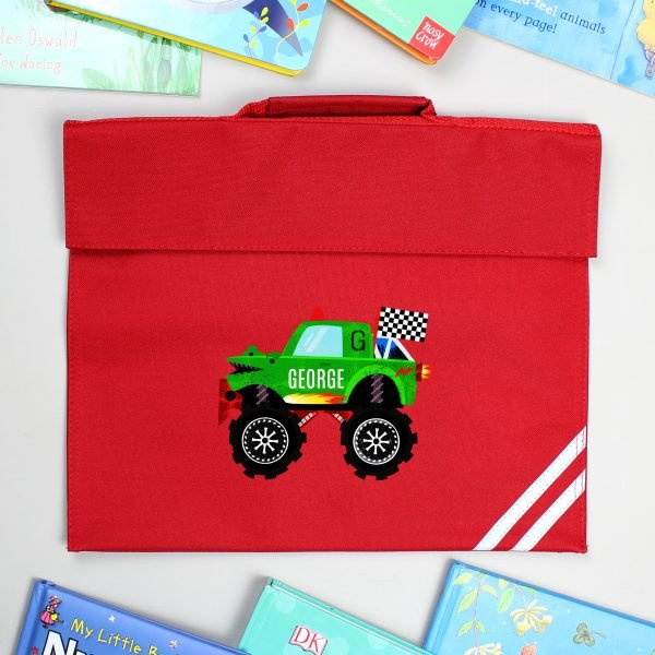 Personalised Monster Truck Red Book Bag