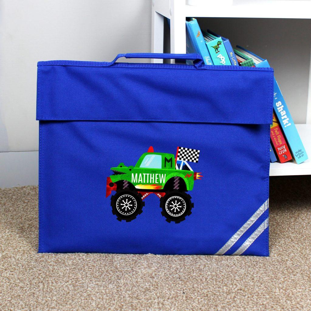 Personalised Monster Truck Blue Book Bag