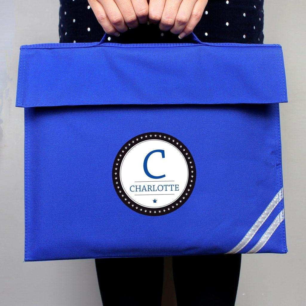 Personalised Initial Blue Book Bag