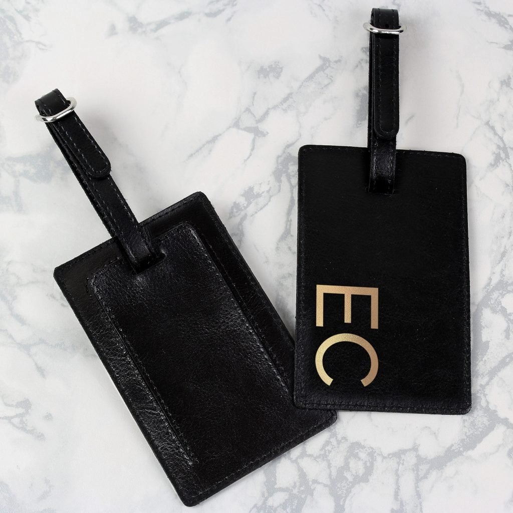 Personalised Gold Initials Black Luggage Tag