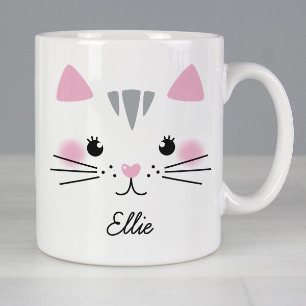 Personalised Cute Cat Face Mug