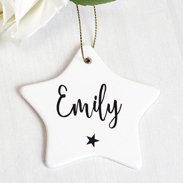 Personalised Name Ceramic Star Decoration