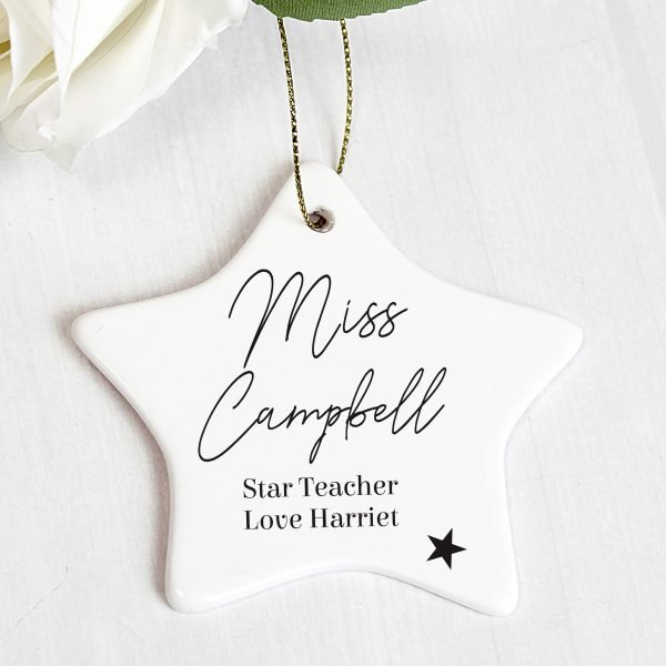 Personalised Free Text Ceramic Star Decoration