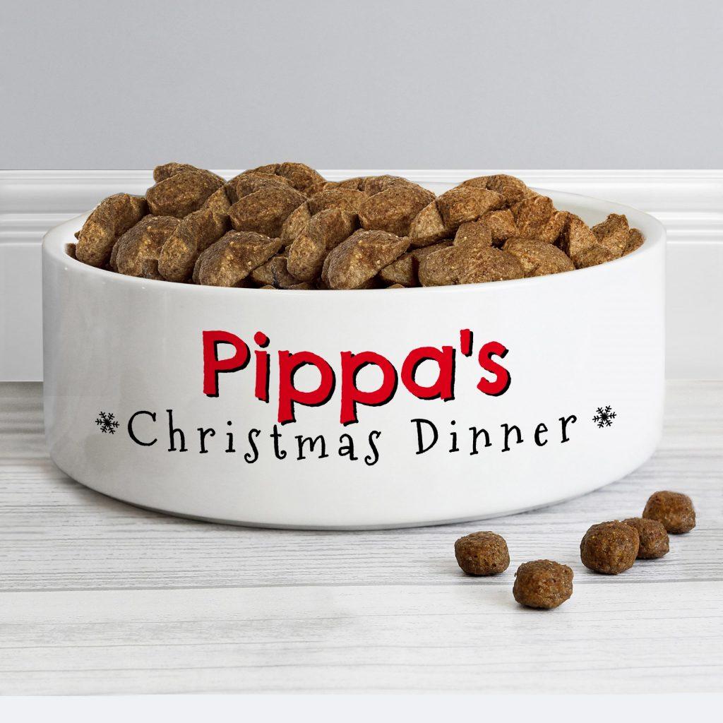 Personalised Christmas Dinner 14cm Medium Pet Bowl