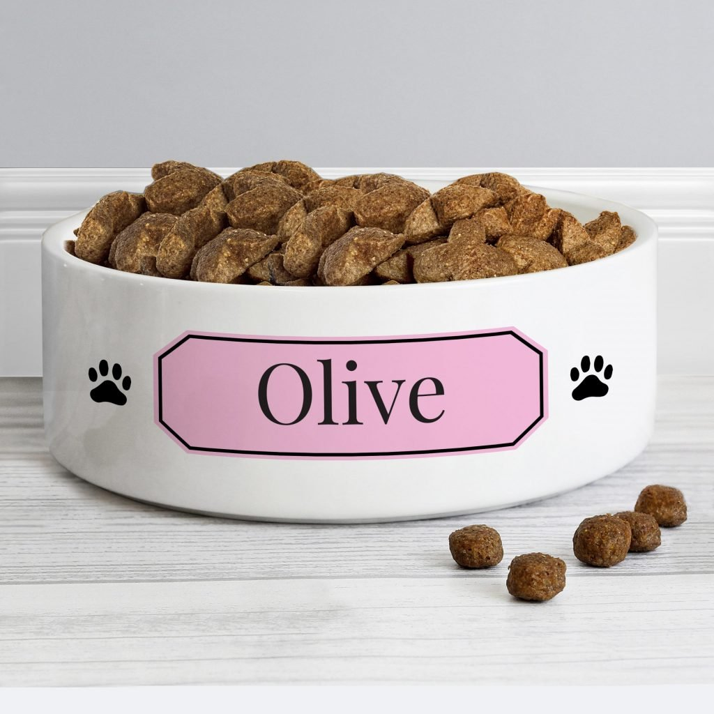 Personalised Pink Plaque 14cm Medium Pet Bowl