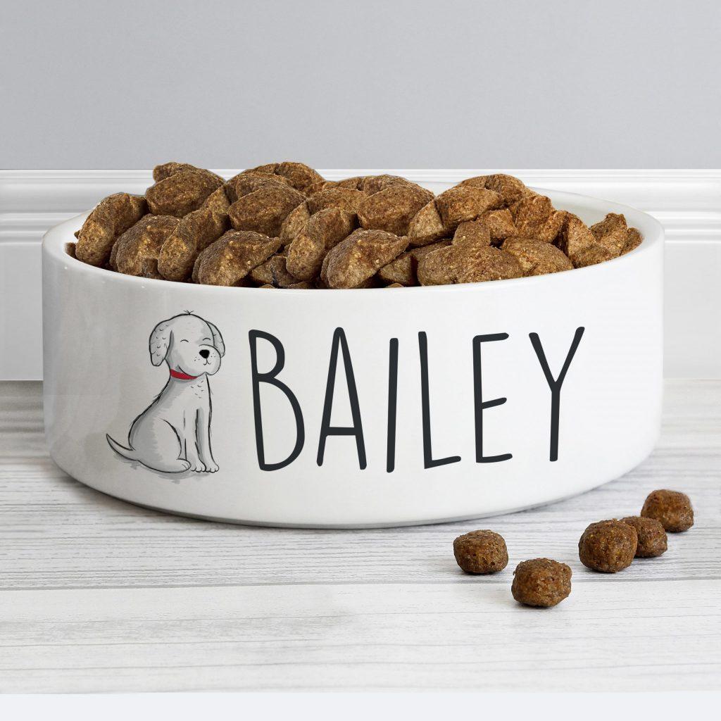 Personalised Scribble Dog 14cm Medium Pet Bowl