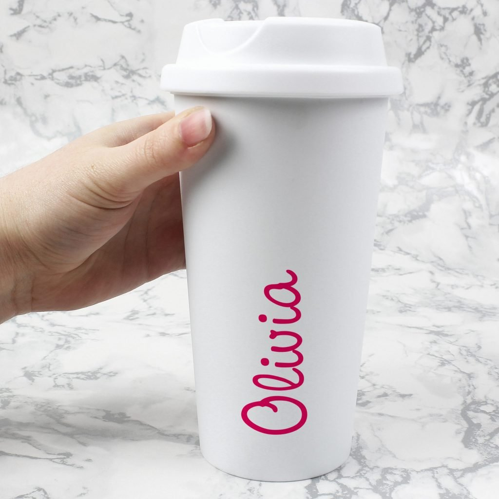 Personalised Pink Name Island Insulated Eco Travel Cup