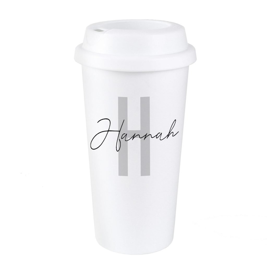 Personalised Initial & Name Insulated Eco Travel Cup